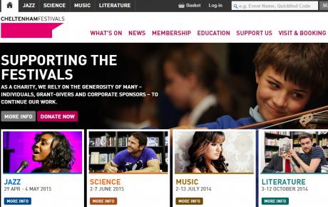 Screenshot from Cheltenham Festivals Website including a boy playing the violin.