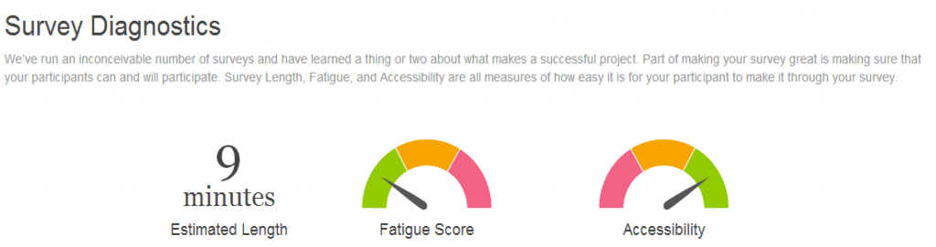 Screenshot with 9 minutes estimated length and green vs. amber vs. red for fatigue & accessibility