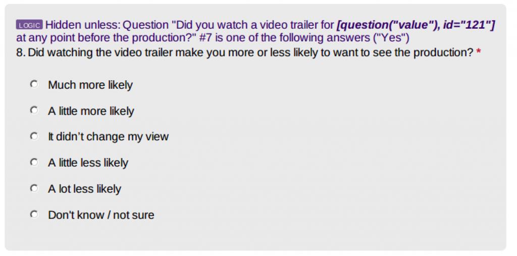 Screenshot of a question with 'hidden unless' logic wording
